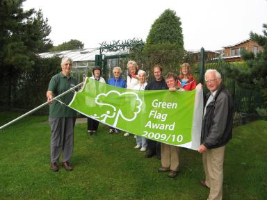 The Friends' Garden Team and Michael Laird, the Resident Gardener hoisted their new Green Flag for 2009-2010 on Monday, 10th August.